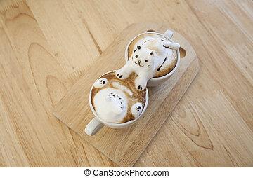 Top View of Latte Kaffee Topping made by Milk Schaum Top auf der Tasse heißen Kaffee . Platz auf dem Holztisch