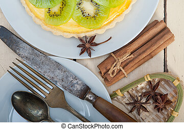 torte, kiwi, torte, gewürz