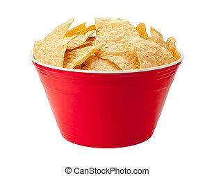 Tortilla-Chips in einer roten Schüssel