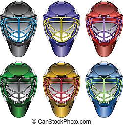 torwart, hockey, masken, eis