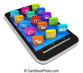 Touchscreen Smartphone mit Bewerbungs-Ikonen