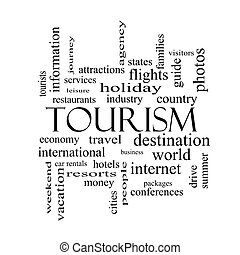 Tourismus Wortwolke Konzept in Schwarz und Weiß.