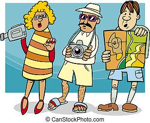 Tourist Group Cartoon Illustration.