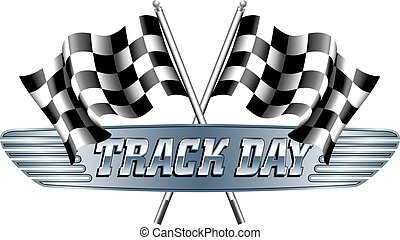 TRACK DAY Checkered, Scheck-Flagge.