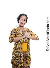 traditionelle , javanese, indonesisch, frau, asiatisch, tragen, tuch