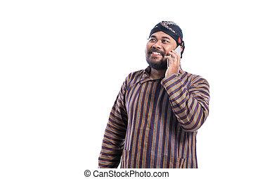 traditionelle , javanese, lurik, telefonierende , mann, tuch