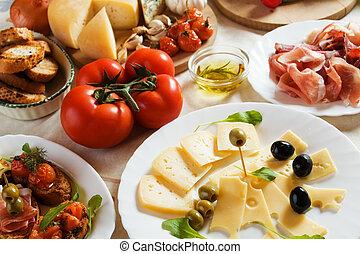 traditionelle , lebensmittel, antipasto, italienesche, vorspeise