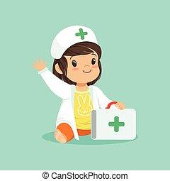 tragen, m�dchen, doktor, mantel, hand., zeichen, karikatur, winkende , s, besitz, koffer, baby, lächeln, kleinkind, hut, medizin