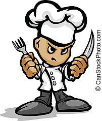 tragen, oder, besitz, gasthaus, chefs, kochen, gesicht, küchenchef, vektor, bild, koch, karikatur, entschlossen, hut, utinsils, maskottchen