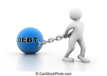 tragen schulden, mann