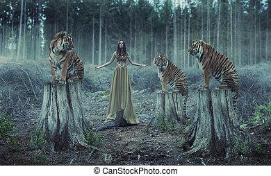 trainer, tiger, attraktive, weibliche