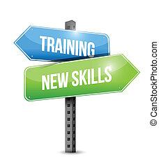 training, fähigkeiten, abbildung, zeichen, design, neu , straße