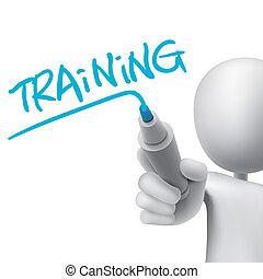 training, mann, 3d, wort, geschrieben
