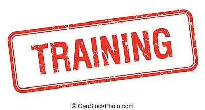 training, quadrat, briefmarke, weinlese, freigestellt, grungy, rotes