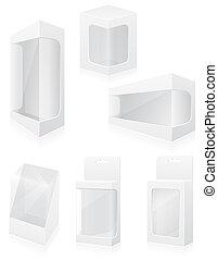 Transparente Verpackungsbox Symbole Vektorgrafik.