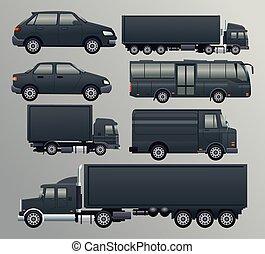 transport, schwarz, bündel, fahrzeuge, satz, heiligenbilder