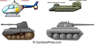 Transportausrüstungen auf dem Schlachtfeld.