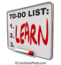trocken, liste machen, -, löschen, brett, lernen
