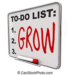 trocken, to-do, wort, -, liste, löschen, brett, wachsen