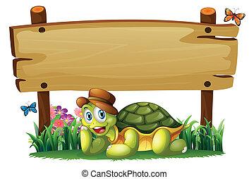 turtle, hölzern, unterhalb, brett, lächeln, leerer