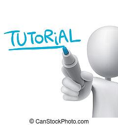 tutorenkurs, mann, 3d, wort, geschrieben