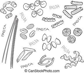 Type von Nudeln - handgefertigte Illustration