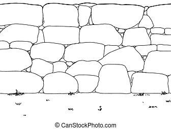 Umrisse Steinmauer mit Unkraut.