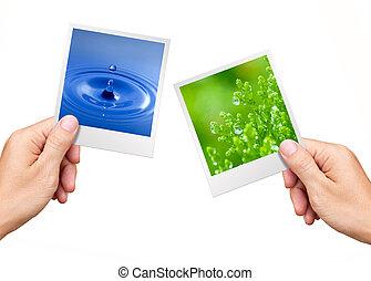 umwelt, pflanze, natur, begriff, wasser, fotos, halten hände