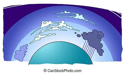 ungefähr, ihm, erde, atmosphäre, planet