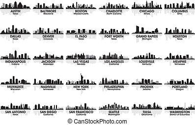 Unglaubliches Set von US-Stadt Skyline. 30 Städte.