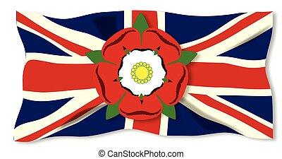 Union Jack mit englischer Rose.
