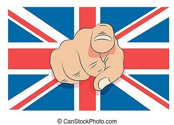 Union Jack mit Zeigefinger.