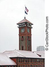 Unionsstation unter Schnee.