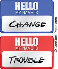 unruhe, name, änderung, etikette