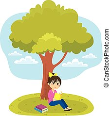 Unter Bäumen lesen.