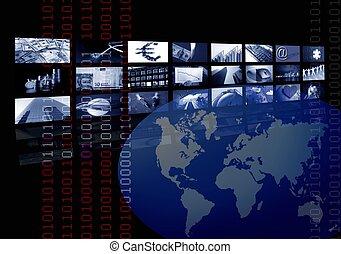 Unternehmen, Weltkarte, mehrfacher Bildschirm