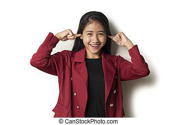 unternehmerin, junger, abdeckhauben, asiatisch, ears., sie