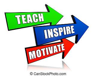 Unterrichten, inspirieren, in Pfeilen motivieren