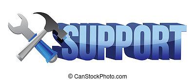 Unterstützungszeichen und Werkzeuge