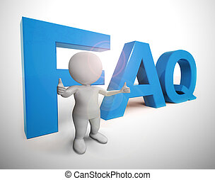 unterstuetzung, oder, hilfe, ikone, -, mittel, 3d, benutzer, abbildung, antworten, faq, personal, symbol, fragen