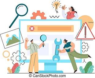 unterstuetzung, reparieren, charaktere, design, mannschaft, stil, modern, edv, vektor, karikatur, wohnung, reparatur, abbildung, grafik, concept., technisch, pc