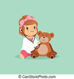 untersuchen, spielzeug, kleid, sie, teddy, doktor, medizin, zeichen, bär, plüsch, m�dchen, wohnung, baby, design, weißes, kleinkind, spielende , karikatur, stethoscope.