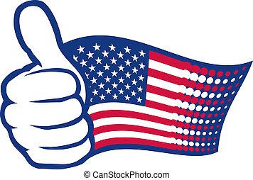 USA-Flagge und Hand zeigen Daumen hoch