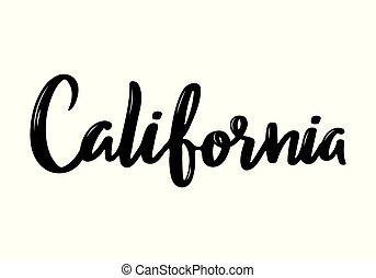 usa, handgeschrieben, kalligraphie, kalifornien, state., name