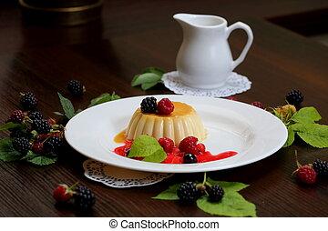 vanille, beeren, pudding, creme