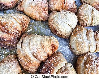 vanille, croissant., creme, nachtisch, gebäck, hauch