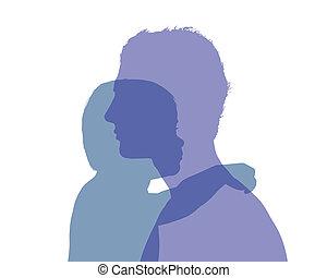 Vater und seine farbenfrohe Silhouette