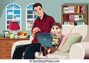 Vater und Sohn benutzen Computer