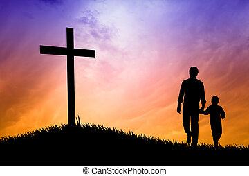 Vater und Sohn beten unter dem Kreuz.