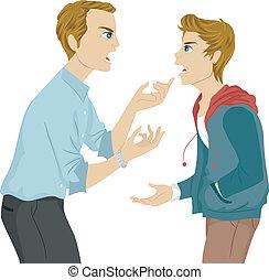 Vater und Sohn streiten.
